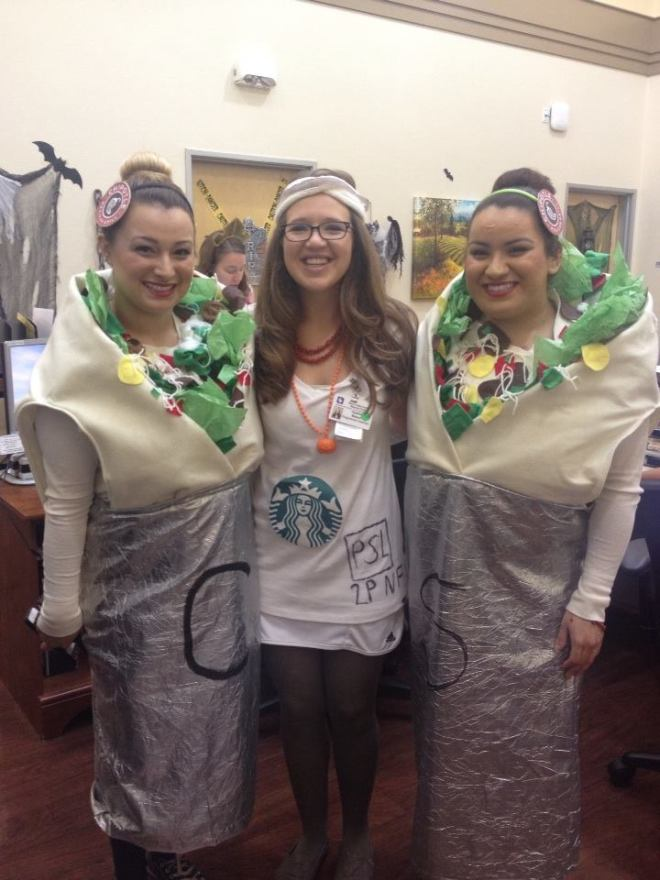 Me and the Chipotle burritos at work! Who doesn't love a homemade burrito costume?